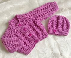 HAND KNIT EARLY BABY OR REBORN ROSE PINK CARDIGAN SET
