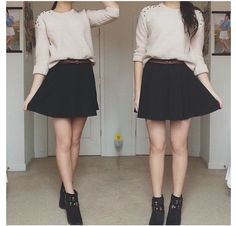 Cream sweater and skater skirt with booties