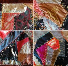 Antique American Crazy Quilt with Embroidery and by Chixycoco