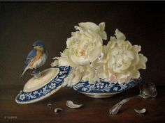 JEANNE ILLENYE - Still Lifes: Grandmother's Treasures white peonies, Bluebird, blue & white porcelain, silver ladle, antique tureen classica...