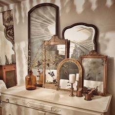 Nov 2018 - Group antique mirrors together on top of my dresser Vintage Mirrors, Vintage Decor, Rustic Mirrors, Home Bedroom, Bedroom Decor, Bedrooms, Casa Milano, Painted Buffet, Farmhouse Chic