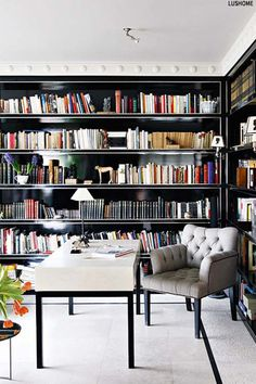 Dark Bookshelves Interiors Trend