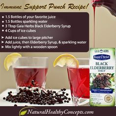 Here's a great immune building punch recipe your family will enjoy with Gaia Herbs Black Elderberry! Just make sure the juice you use is organic! Shipping is free!