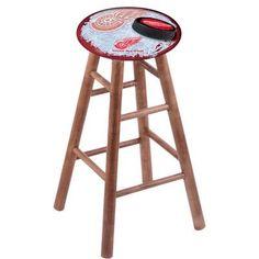"Holland Bar Stool NHL 18"" Bar Stool with Cushion Finish: Medium, NHL Team: Detroit Red Wings"