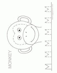 Monkey face template ZZ Alphabet Worksheet - Letter M   Ziggity Zoom