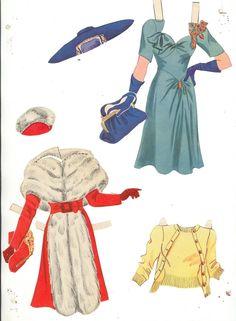 Lana Turner Paper Dolls, 1942 Whitman of Paper Dolls Clothing, Paper Clothes, Doll Clothes, Paper Cutting, Paper Art, Paper Crafts, Fun Crafts, Vintage Outfits, Vintage Fashion