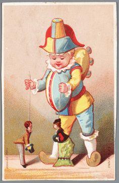 Grafiek in kleur, voorstellende Polichinelle met 2 stangpoppetjes