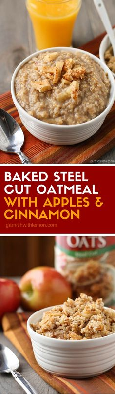 Need a warm, make ahead breakfast? Make a batch of this hearty Baked Steel Cut Oatmeal with Apples & Cinnamon and enjoy breakfast all week long! ~ http://www.garnishwithlemon.com
