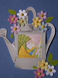 Mother's Day card. I found watering can clip art on the internet and then designed my own card. Iris Folding Templates, Iris Paper Folding, Iris Folding Pattern, Poinsettia Cards, Christmas Poinsettia, Christmas Bells, Christmas Angels, Christmas Crochet Patterns, Crochet Ornaments