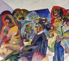 Лентулов. Общество за столом. 1916