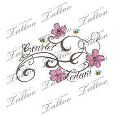 with kids names custom tattoo | flowers2 #38894 | CreateMyTattoo.com
