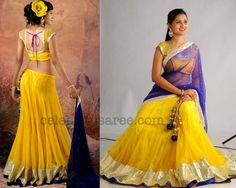Yellow Designer Half Sari   Saree Blouse Patterns