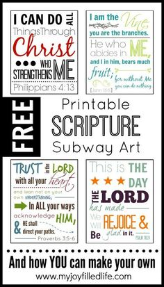 Scripture Subway Art and Free Sunday School Printables on Frugal Coupon Living. Scripture printables.