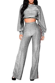 4aca5afb30e Pink Queen Women s Puff Sleeve Crop Top Palazzo Pant 2 Piece Outfits XL  Silver