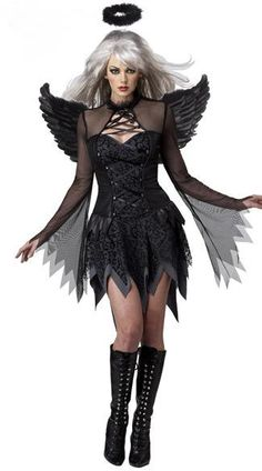 Fantasia Adult Fallen Angel Costume halloween costumes for women sexy costume fantasy cosplay party fancy dress Fallen Angel Halloween Costume, Costume Ange, Dark Angel Halloween Costume, Black Angel Costume, Halloween Noir, Costume Carnaval, Costume Sexy, Halloween Fancy Dress, Halloween Cosplay