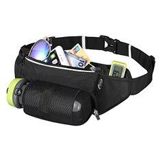 AiRunTech Running Belt with Water Bottle Holder Waterproof Bum Bag Cycling Waist Bag Jogging Belt Dog Walking Bag Perfect for Travel Holidays Camping Climbing Hiking Outdoor Sports Fit iPhone X