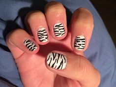 Pretty pleased with this first attempt at some simple zebra print nails.