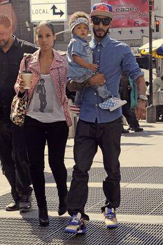 Alicia, Swizz & son....he's already very fashionable, I see. Peep the Jeremy Scott Adidas...