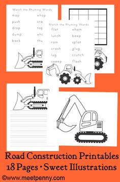 """Great activities to go with the book """"Roadwork."""" Includes free printables."""