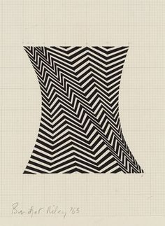 """Bridget Riley, celebrates the 50 year anniversary of her first commercial show.  She is most well known for her dizzying, patterned paintings that gave birth to a movement called """"Op Art"""".  By juxtaposing different colors or black and white against one another she is able to create the illusion that her work is flickering, pulsating or moving."""