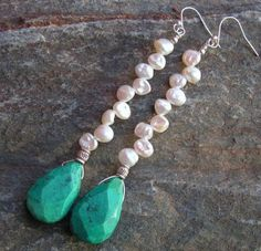 Swizzle Sticks / Faceted Turquoise, FWKeishi Pearls | miabellacollection-jewelry - Jewelry on ArtFire