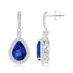 Angara Trillion Blue Sapphire and Diamond Leverback Earrings in Platinum csb7vf