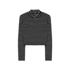 Striped Long Sleeve Slim Fit Crop Top (120 HRK) ❤ liked on Polyvore featuring tops, shirts, sweaters, long sleeves, high neck shirts, stripe top, bunny shirt, striped top and crop shirt