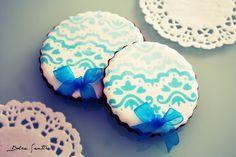 Galletas 'Blue Lace': Cómo usar stencils o plantillas sobre glasa {Foto Tutorial}