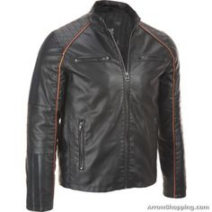 Arrow Mens Leather Moto Jacket with Piping
