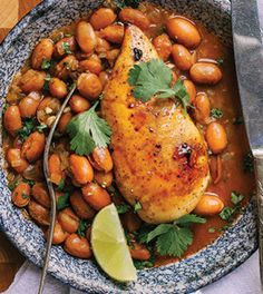 Chipotle Honey–Roasted Chicken with Stewed Pinto Beans