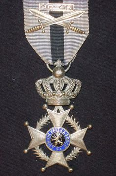 Order of Leopold II Knight's breast badge; Type 2, 1908-1951 unilingual (French); with WW II swords.