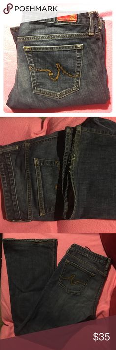 "AG The Club Wide Leg Dark Denim Jean AG Dark Denim Jean ""The Club"" wide leg minor wear on the bottom hem other than that in good condition. AG Adriano Goldschmied Jeans Flare & Wide Leg"