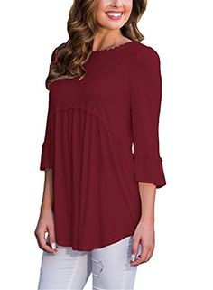 YOUHUA Women 3 4 Sleeve O-neck Cotton Solid Color Pleated Patchwork Casual Loose Long Top(HY06271-wine red-L)