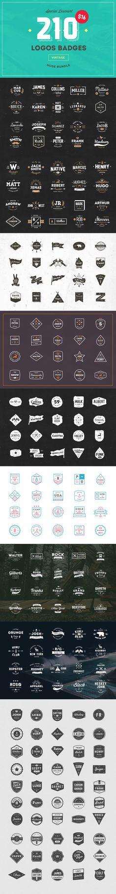 210 Vintage Logos Badges Bundle - Logos - 1