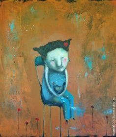 Купить Петушок или курочка? - рыжий, картина, подарок, девочка, курочка, наив, любовь