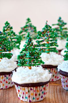 Chocolate Christmas Tree Cupcakes from justataste.com