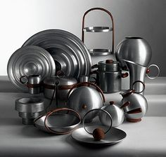 Spun aluminum serving pieces by Russel Wright