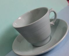 Woods Ware Iris Blue Cup and Saucer. 5 Available Blue Cups, British Baking, Cup And Saucer, 1940s, Iris, Woods, Tea Cups, Colours, Lifestyle