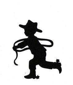 Little Cowboy Child Silhouette die cut for scrap booking or card making