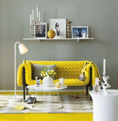 Modern Living Room Design Ideas with Yellow Sofa Living Room Color Schemes, Living Room Grey, Living Room Interior, Living Room Designs, Living Room Decor, Grey Room, Living Rooms, Loft Interior, Interior Modern