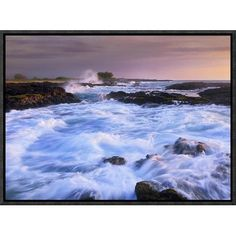 "Global Gallery Waves and Surf at Wawaloli Beach the Big Island, Hawaii by Tim Fitzharris Framed Photographic Print on Canvas Size: 12"" H x 16"" W x ..."