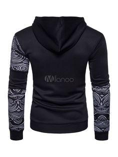 b777975c9806a Sudadera con capucha de algodón mezclado negra Encapuchada con dibujo  retazados