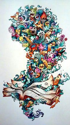 Doodle a invasão. Pintura by Thais Gimenez.