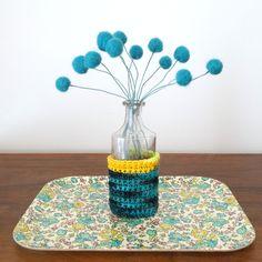 Teal Felt flowers - Fuzzy wool Pom Pom Flowers -  Faux Fake Craspedia flower bouquet - Billy ball floral arrangement - Blue thistles by berryisland on Etsy