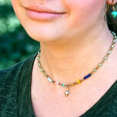Colorful beaded choker necklace,charm necklace,boho jewelry. Tiedupmemories