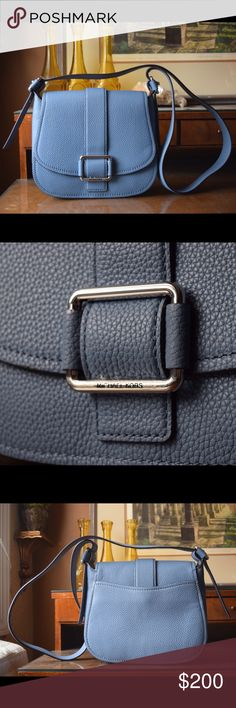 "Micheal Kors Maxine Large Denim Saddle Bag - NEW Pebble leather. Denim Color. Polyester lining. Imported. 10""W x 9""H x 3""D. Interior: 1 zip pocket, 1 slip pocket, and 1 front compartment (under flap). 18""-21"" adjustable strap. Magnetic snap closure. Exterior: 1 magnetic snap pocket. Silver hardware. This bag is Brand New With Tags. MICHAEL Michael Kors Bags Shoulder Bags"