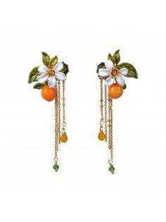 Boucles d'oreilles orange, fleur d'oranger et chaînes - Les Néréides