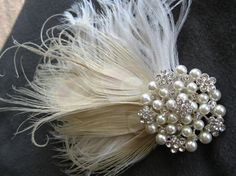 Wedding Hairpiece Bridal Bleached Peacock by FascinatingCreations, $38.95