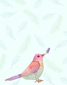 Archival quality print reproduction of Stephanie Ryan's watercolor painting Patience Bird.  Fits an 8x10 frame.  $22