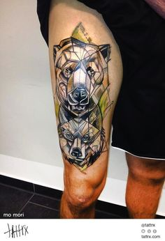 I love this style. Hard lines and watercolor, so awesome.  Mo Mori Tattoo - Bear and Wolf Totem